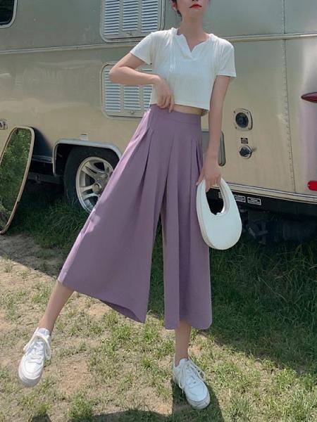 雪紡寬褲 雪紡闊腿褲女夏季薄款年高腰垂感寬鬆休閒褲a字裙褲 晶彩