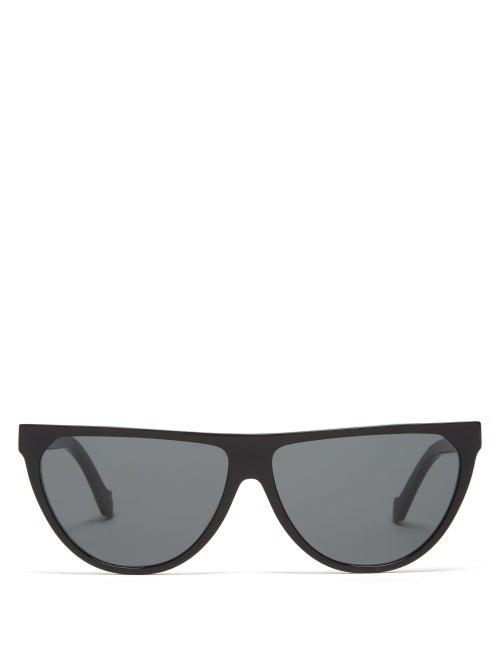 Loewe - Flat-top Acetate And Metal Sunglasses - Womens - Black
