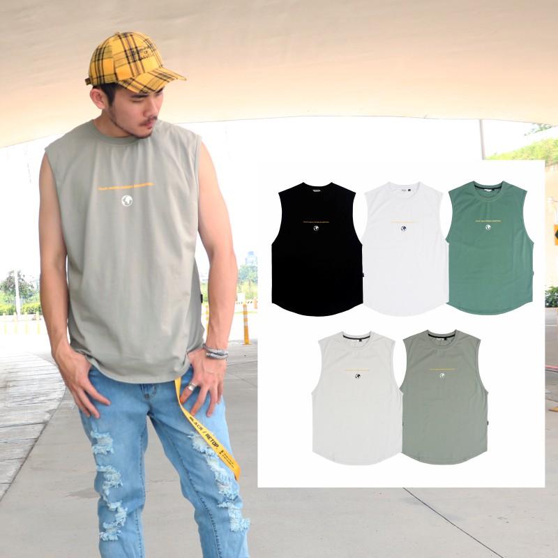 【RETOP】朝氣蓬勃寬版萊卡背心 圓領 無袖T恤 內搭 背心 寬板 萊卡 潮流 男女 黑 白 灰 灰綠 褐灰