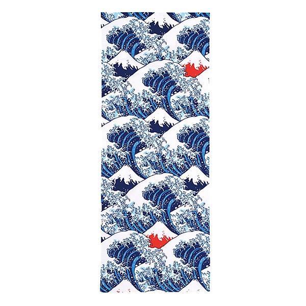 丸真 日本製100%純棉毛巾 葛飾北齋系列 神奈川沖浪 藍_RS61758