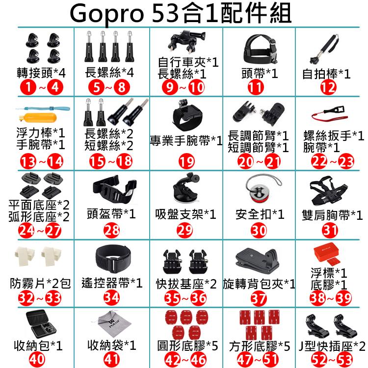 攝彩@胖牛Gopro53合1配件組 PULUZ 副廠配件 Gopro配件 運動相機配件 小蟻相機 DJI 收納盒