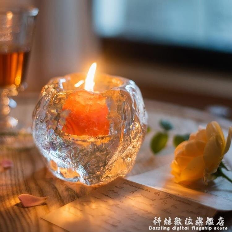 掬涵 冰洞燭杯燭台裝飾桌面擺件玻璃浪漫蠟燭光晚餐桌水晶北歐SUPER 全館特惠9折