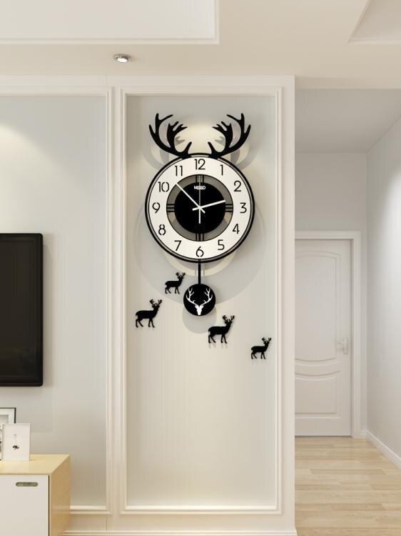[假期折扣]掛鐘北歐鹿頭鐘錶掛鐘客廳個性創意時尚家用藝術時鐘網紅裝飾錶