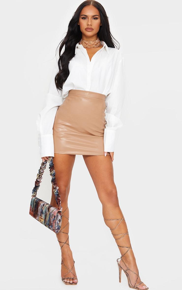 Stone Faux Leather Basic Mini Skirt