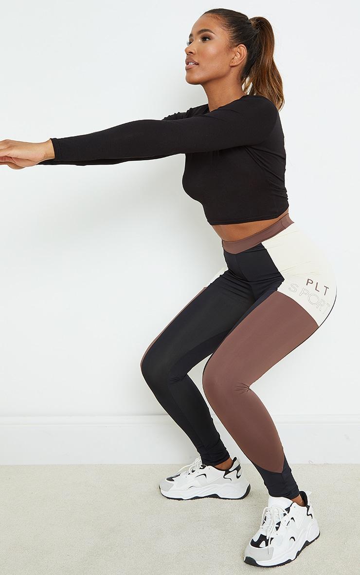 PRETTYLITTLETHING Chocolate Side Panel Gym Leggings