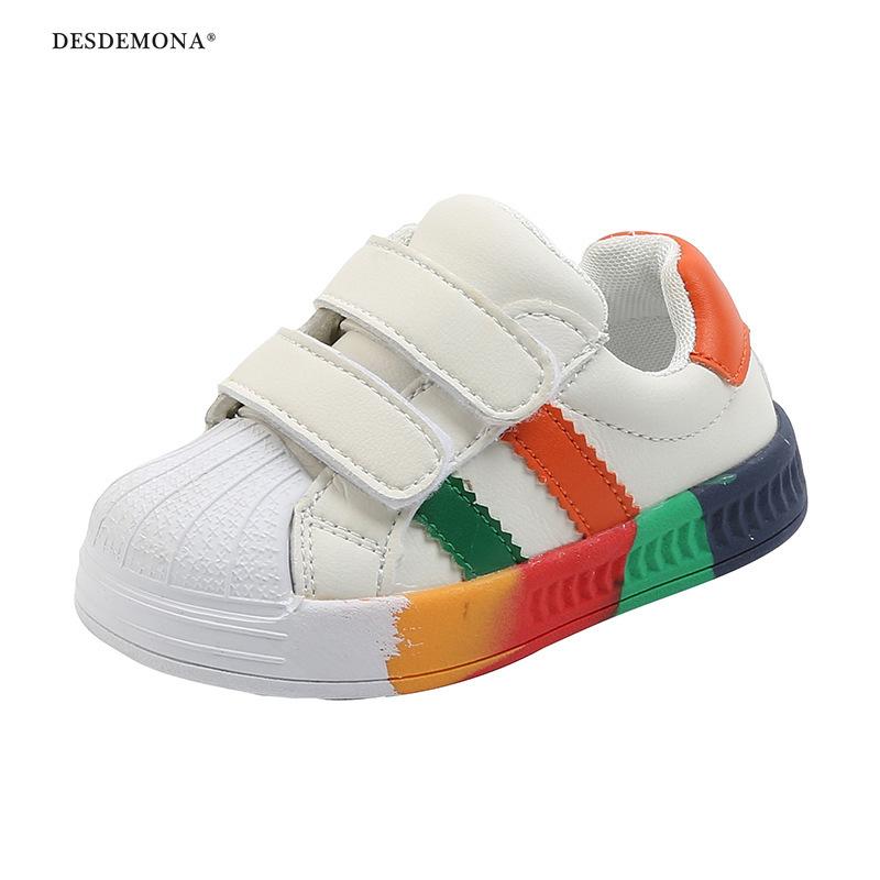 現貨出售20年秋季新款彩虹底小童板鞋男女兒童運動鞋軟底防滑嬰兒學步鞋