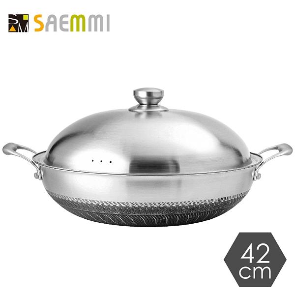 贈鍋鏟組//台灣製【超大容量】316不銹鋼耐刮蜂巢不沾炒鍋-42cm