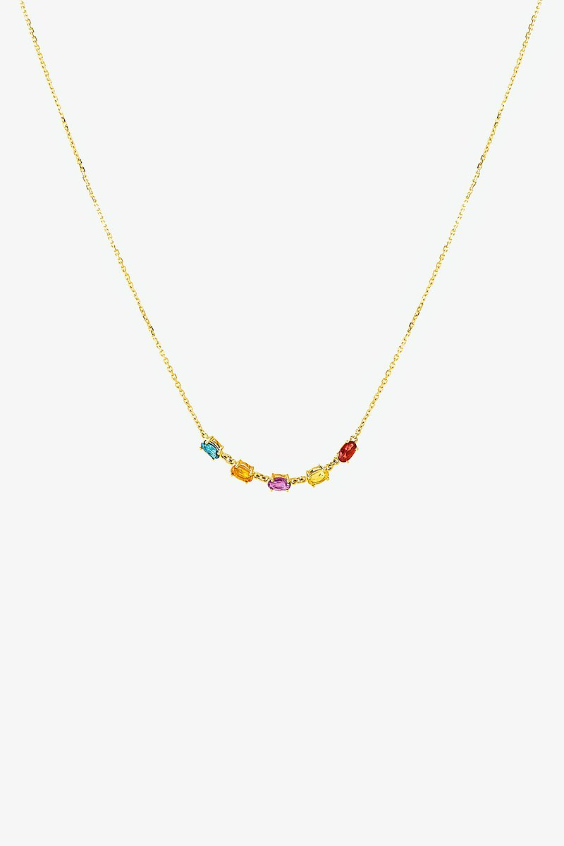 限量現貨-Rosa純18K金5晶頸鏈 黃玉 黃水晶 紫水晶 碧璽 石榴石