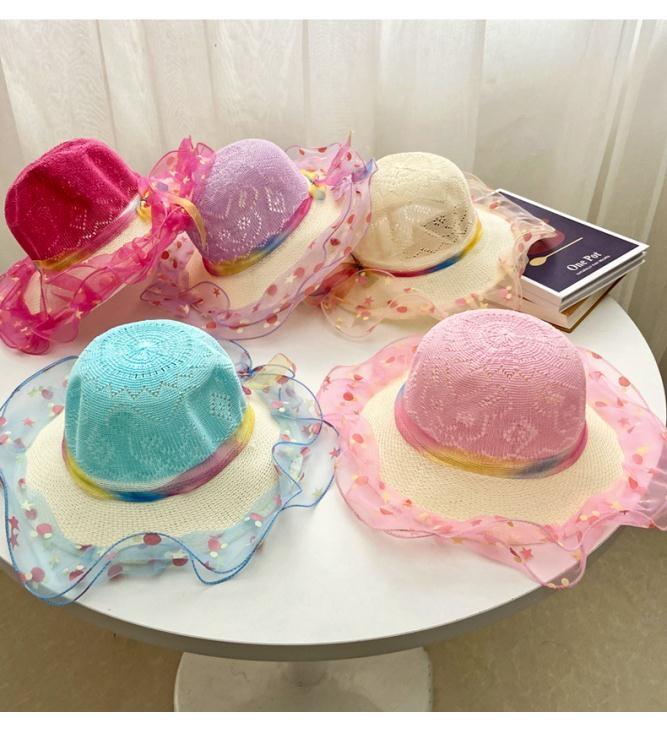 夏季韓版時尚兒童太陽帽公主小女孩防曬遮陽帽子女童寶寶蕾絲帽潮 阿卡娜 現貨快出 新年狂歡85折鉅惠