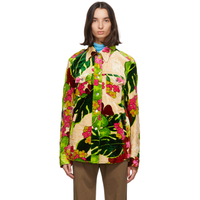 Dries Van Noten 绿色 Floral 绗缝夹克