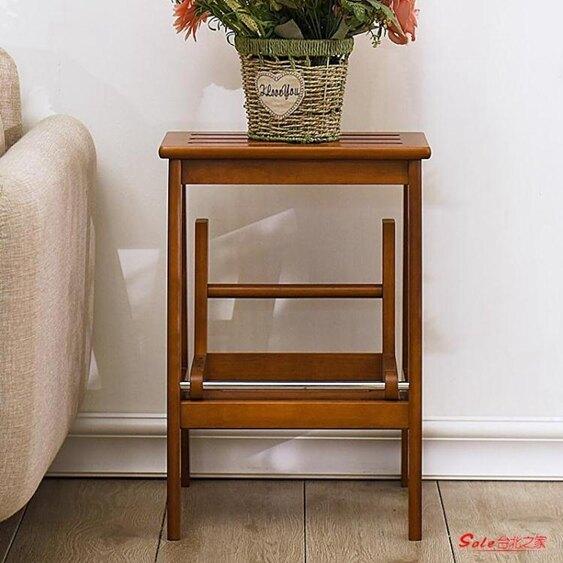 梯凳 實木梯凳階梯凳子家用高板凳兩用換鞋凳多功能折疊凳樓梯椅子T【年終尾牙 交換禮物】