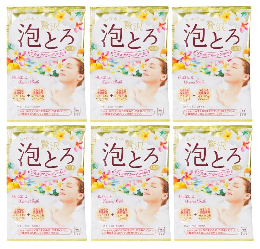 日本製 COW 牛乳石鹼 奢侈泡泡入浴劑(黃-雞蛋花香)30g/包X6 濃密泡泡*夏日微風*