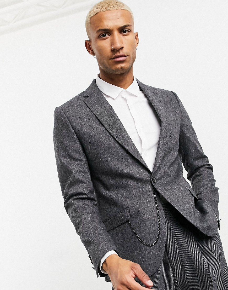 Shelby & Sons slim suit jacket in grey tweed with pocket chain