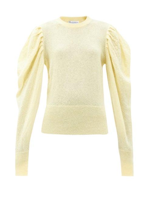 JW Anderson - Balloon-sleeve Mohair-blend Sweater - Womens - Light Yellow