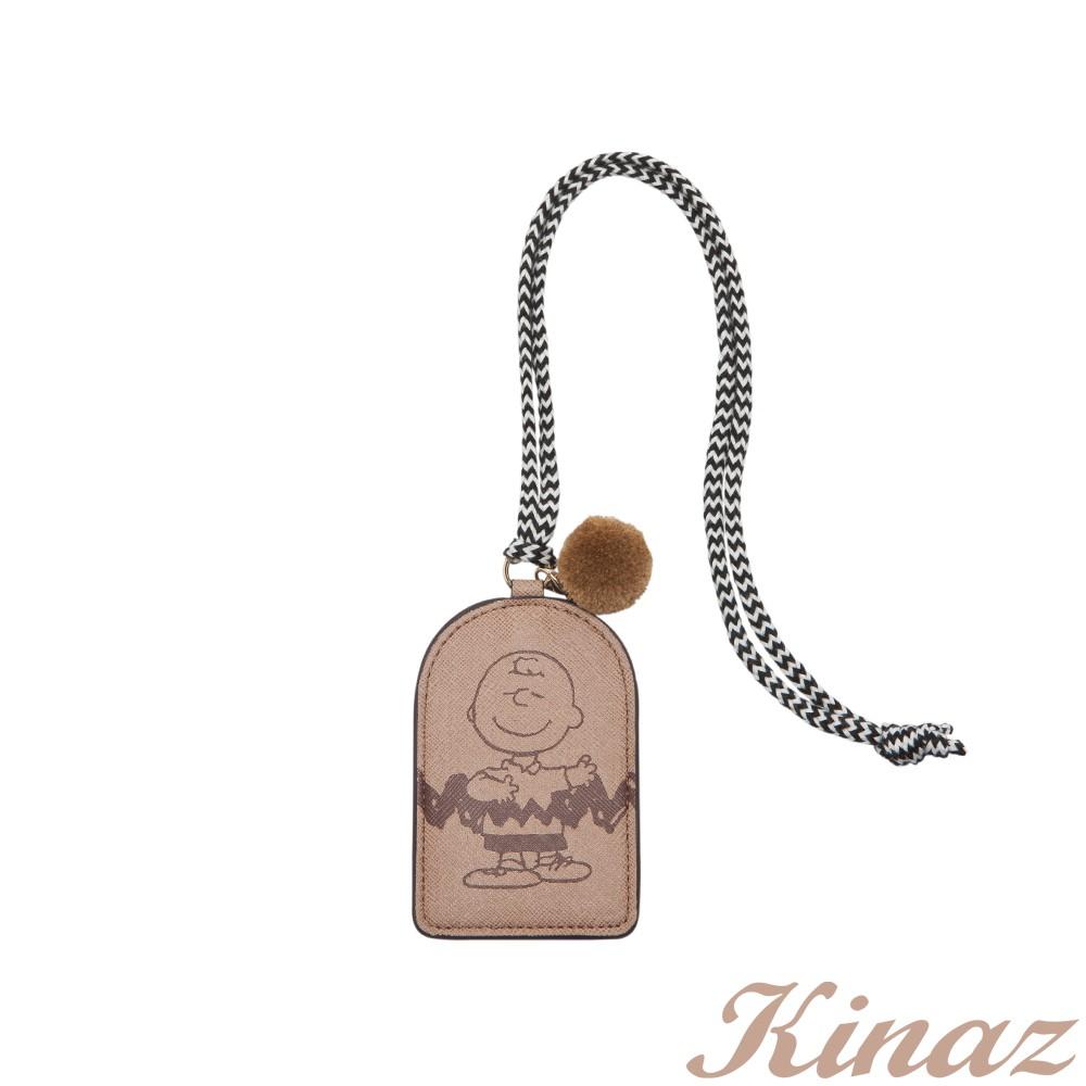KINAZ 查理布朗聯名款 掛脖頸繩毛球證件票卡夾-溫柔霧灰棕-心動系列