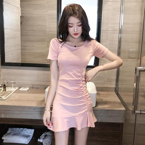 時尚氣質收腰顯瘦褶皺短袖性感緊身包臀洋裝子2020夏季新款女裝 【ifashion·全店免運】