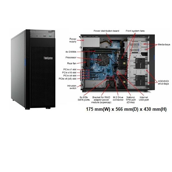 Lenovo ThinkSystem ST250 (7Y45S2SY00) 3.5吋熱抽伺服器【Intel Xeon E-2224 / 8GB / Raid-0/1/10/5 / 550W / 三年保