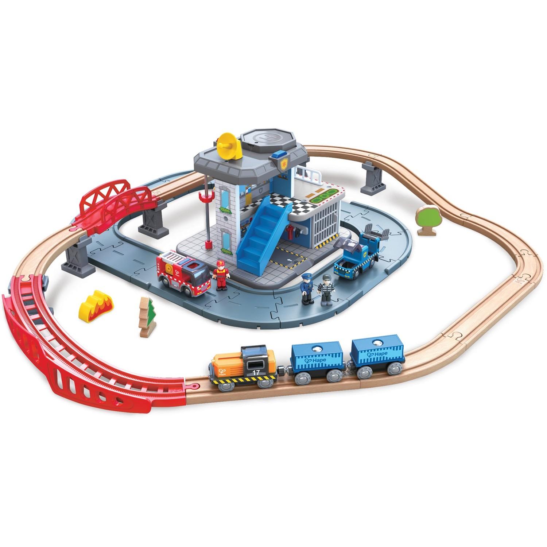 Hape - 緊急服務總部木製列車玩具(55件組)