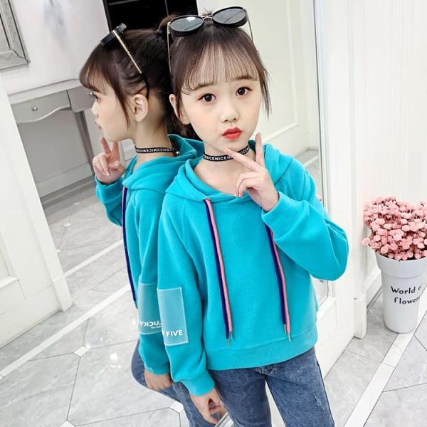 女童連帽衛衣 女童衛衣秋裝2020年新款韓版潮兒童春秋薄款洋氣連帽大童網紅上衣