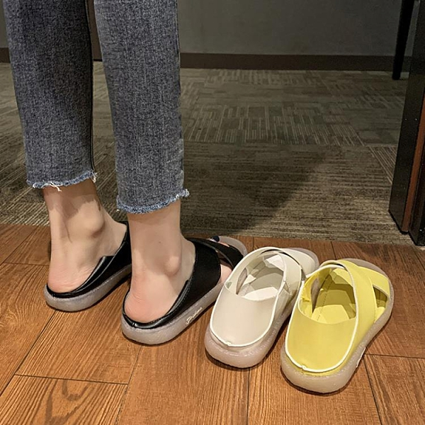 魚口鞋 2020新款韓版軟底舒適平底魚嘴兩穿涼拖女夏簡約百搭防滑孕婦涼鞋 萬聖節狂歡