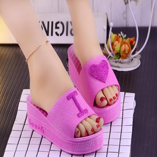 魚口鞋 夏季新款韓版時尚心形松糕跟坡跟涼拖鞋女厚底高跟拖鞋女魚嘴鞋  卡洛琳