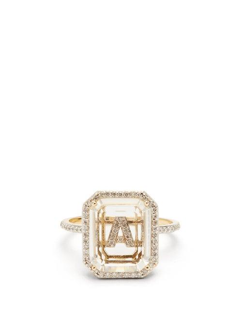 Mateo - Initials Diamond, Quartz & 14kt Gold Ring A-i - Womens - Crystal