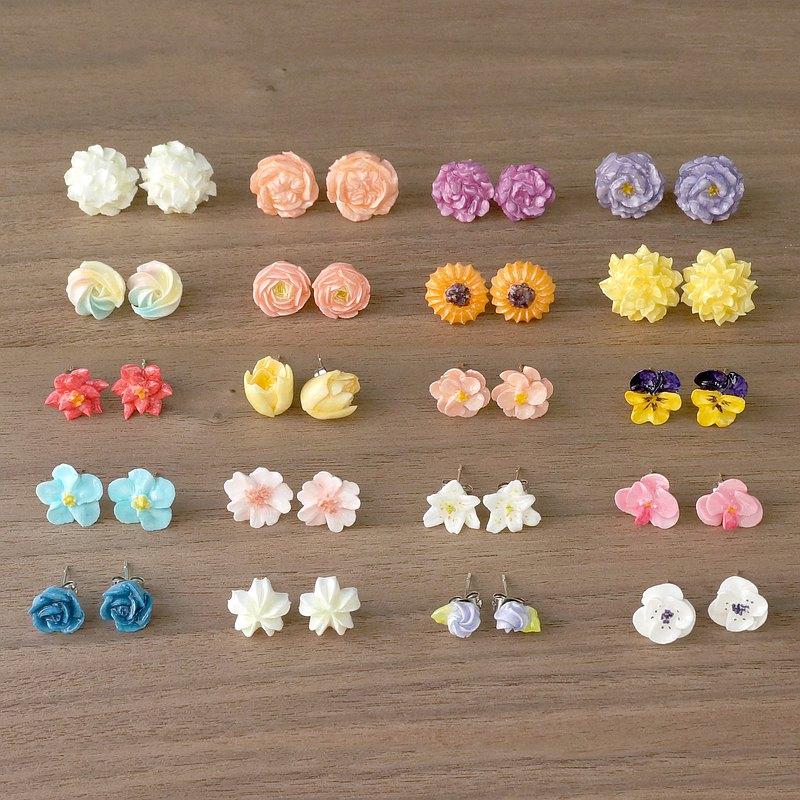 客製裱花耳環/耳夾 奶油黏土擠花飾物