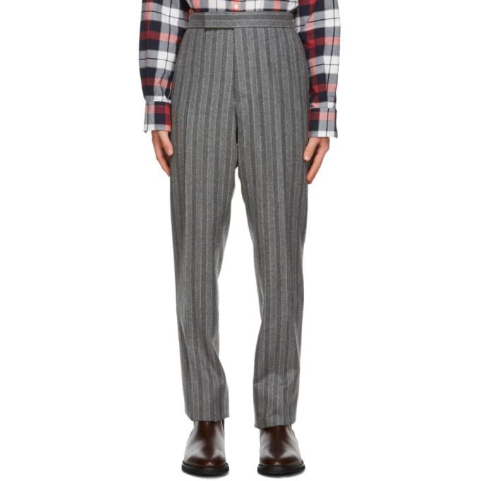Thom Browne 灰色 Chalk 条纹羊毛法兰绒长裤