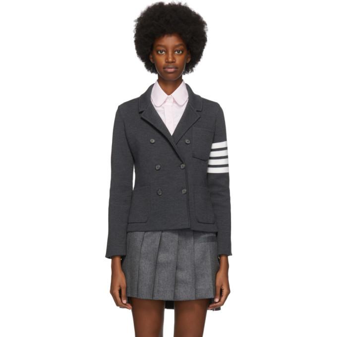 Thom Browne 灰色 4-Bar 双排扣西装外套