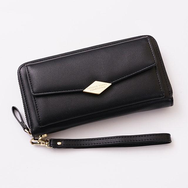 (共三色)【L.Elegant】韓版時尚長夾手拿零錢包_黑色B712