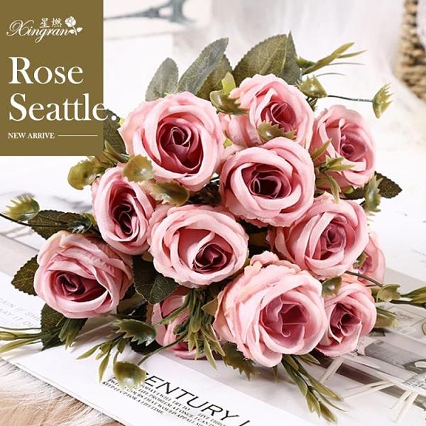 香皂花 新款絹花仿真玫瑰花 外貿仿真花西雅圖玫瑰 婚慶手捧花束6朵一束 ciyo黛雅
