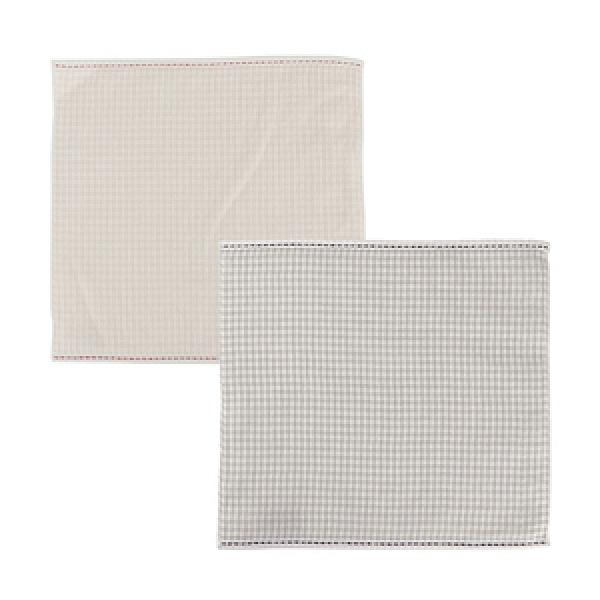 (組)和風紗布格紋小手巾24x24(粉)x1+(灰)x1