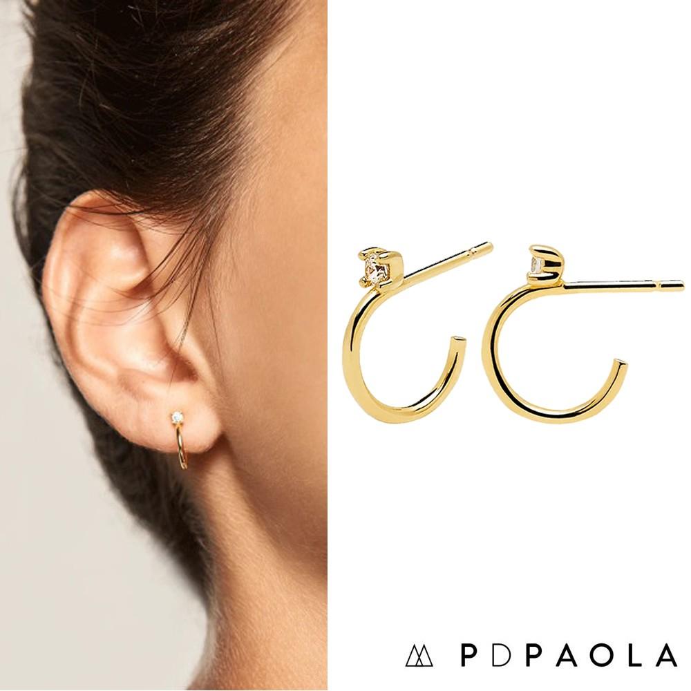 PD PAOLA 西班牙時尚潮牌 迷你C型耳環 金色白鑽 925純銀鑲18K金 KITA