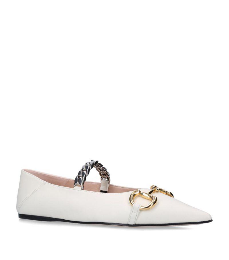 Gucci Leather Deva Ballerina Flats