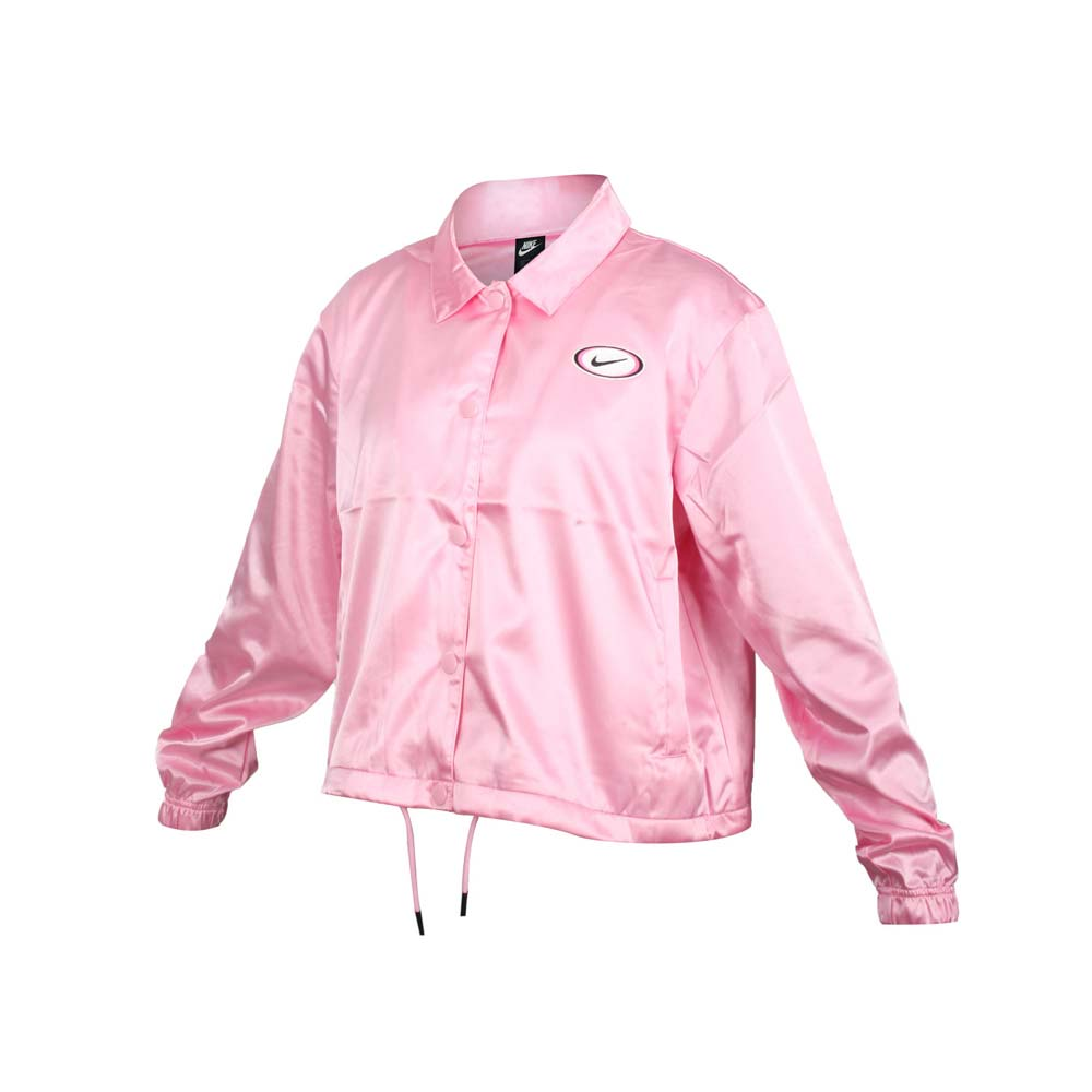 NIKE 女緞面運動外套-立領外套 復古 短版 休閒 亮粉紅白黑