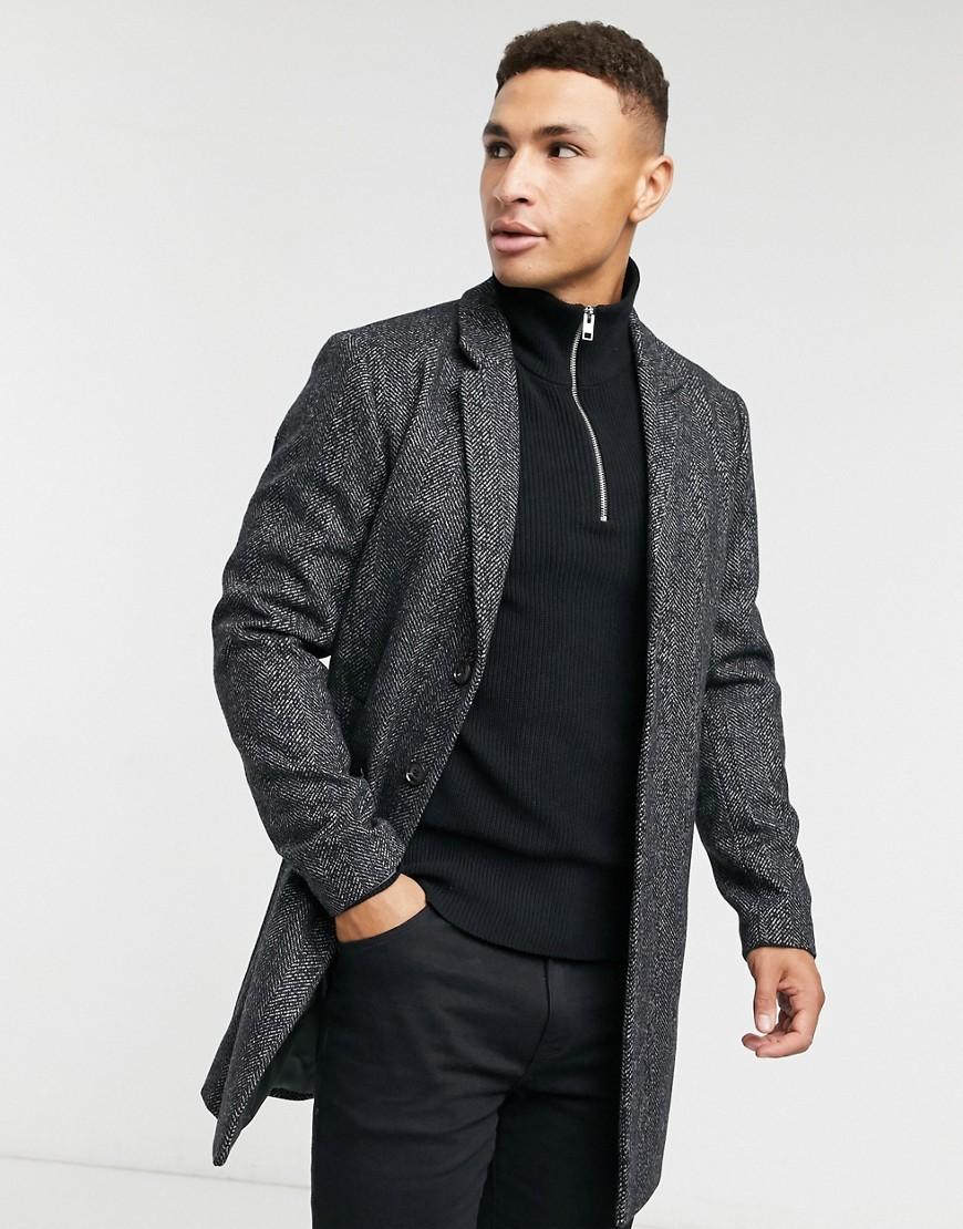 Jack & Jones Premium Overcoat in Grey Pattern