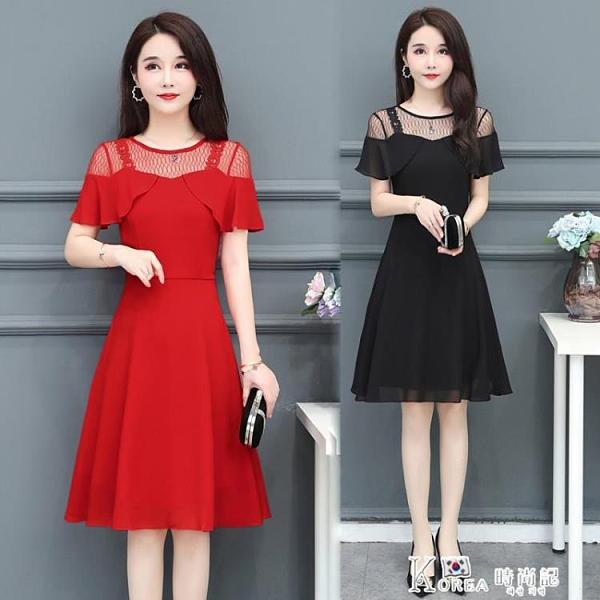 蕾絲洋裝-夏季雪紡洋裝女裝2021新款夏天氣質中年女人小矮個子蕾絲裙子 Korea時尚記