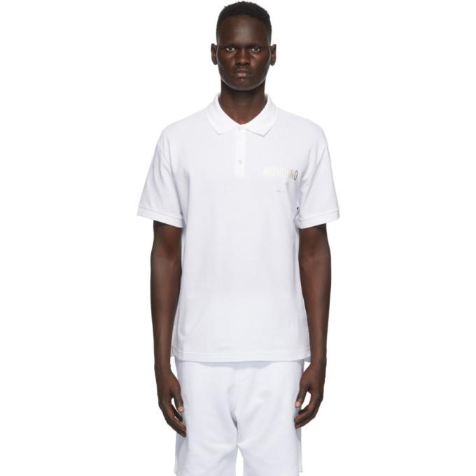 Moschino 白色徽标印花 Polo 衫