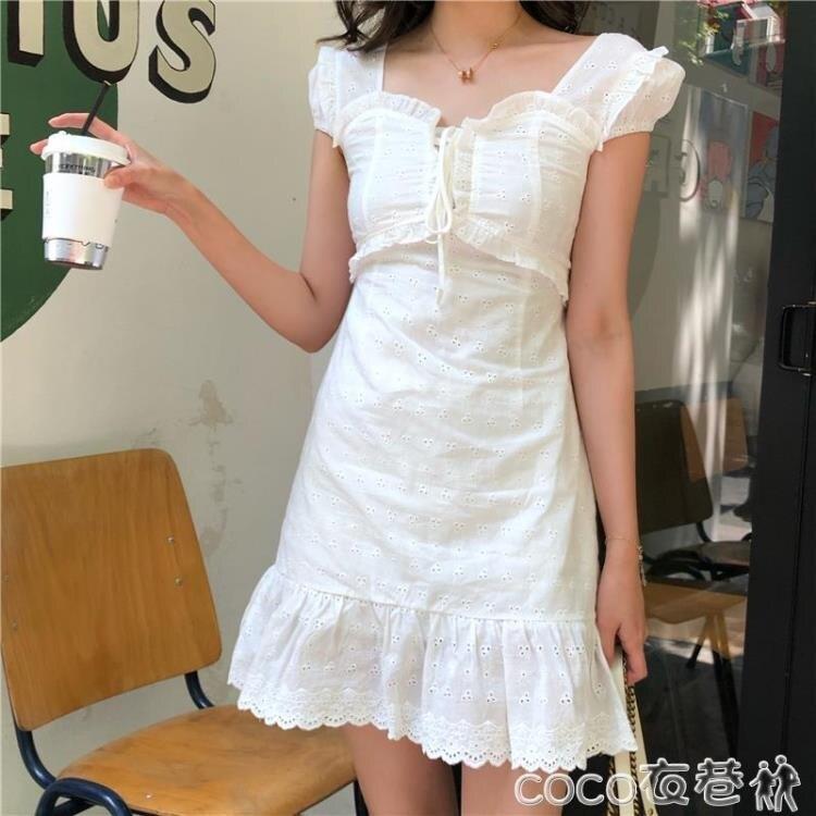 【樂天優選】蕾絲洋裝夏季新款法式復古方領設計綁帶連身裙女蕾絲花邊收腰仙女小白裙潮
