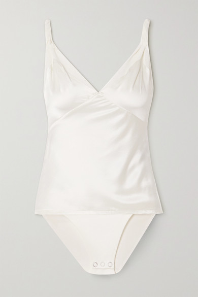RtA - Livia 丝缎弹力绢网连体紧身衣 - 白色 - US10
