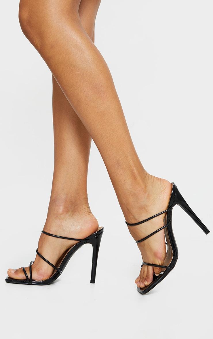 Black Wide Fit Toe Loop Strappy High Heeled Mules