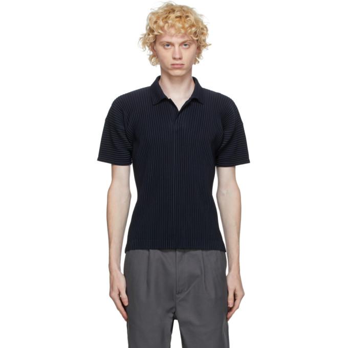 Homme Plisse Issey Miyake 海军蓝 Basic Polo 衫