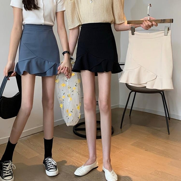 短裙 包臀半身裙女夏季2021新款不規則荷葉邊高腰A字裙黑色復古短裙子 霓裳細軟