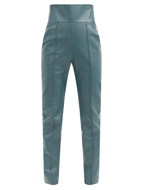 Alexandre Vauthier - High-rise Leather Slim-leg Trousers - Womens - Blue