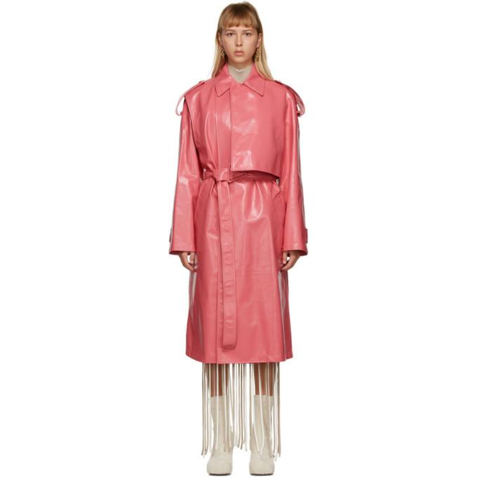 Bottega Veneta 粉色亮面皮革风衣