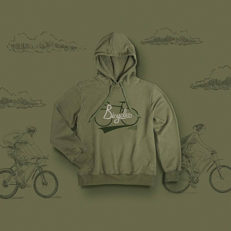 Hoodie中性成人-自行車|綠色