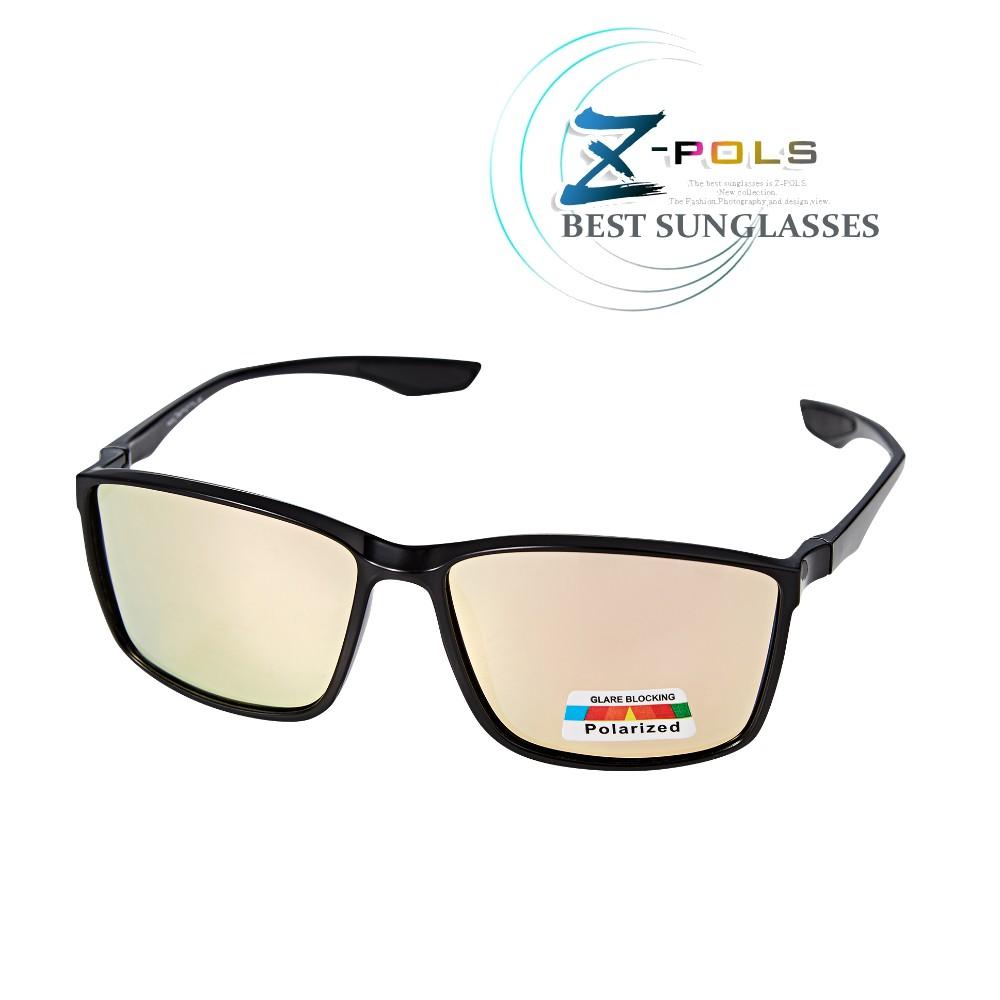【Z-POLS】名牌風格TR90輕量框體材質 搭REVO電鍍橘紅Polarized寶麗來偏光抗UV400太陽眼鏡