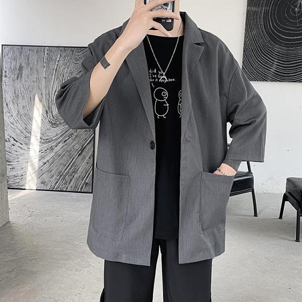 西裝外套 夏季港風氣質時尚短袖西裝學院風外套男英倫寬鬆休閒七分半袖西服-完美