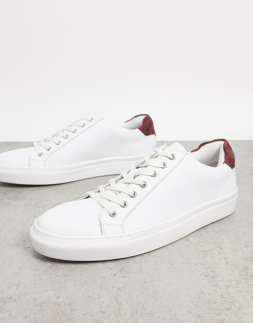 Dune travers trainers in white leather-Multi