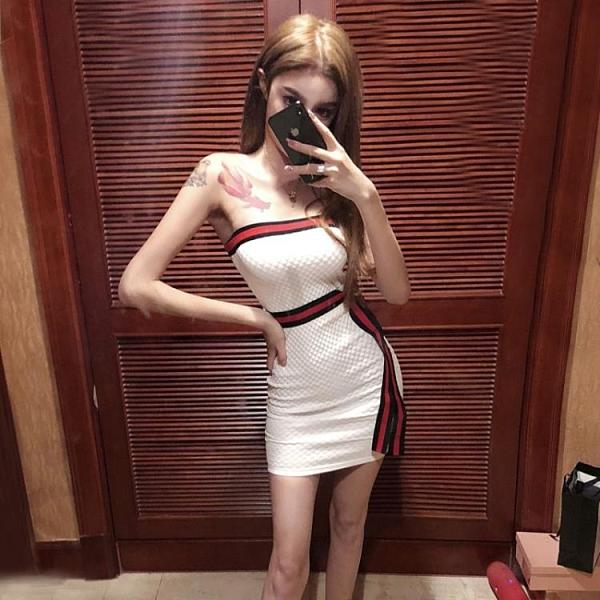 洋裝小禮服主播直播酒吧女裝性感一字領漏肩收腰顯瘦抹胸連衣裙 漫步雲端